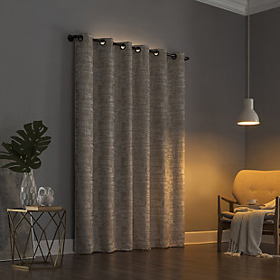 "Sun Zero Parrish Distressed Grid Thermal Extreme 100% Blackout 40"" x 84"" Linen Grommet Curtain Panel, Linen, rollover"