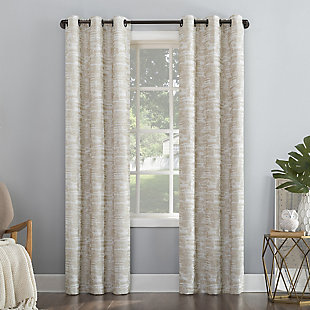 "Sun Zero Parrish Distressed Grid Thermal Extreme 100% Blackout 40"" x 84"" Linen Grommet Curtain Panel, Linen, large"