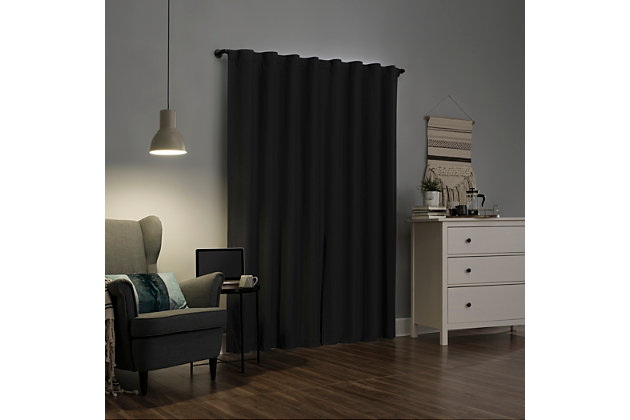 """Sun Zero Cyrus Thermal 100% Blackout 40"""" x 96"""" Charcoal Gray Back Tab Curtain Panel, Charcoal, large"""