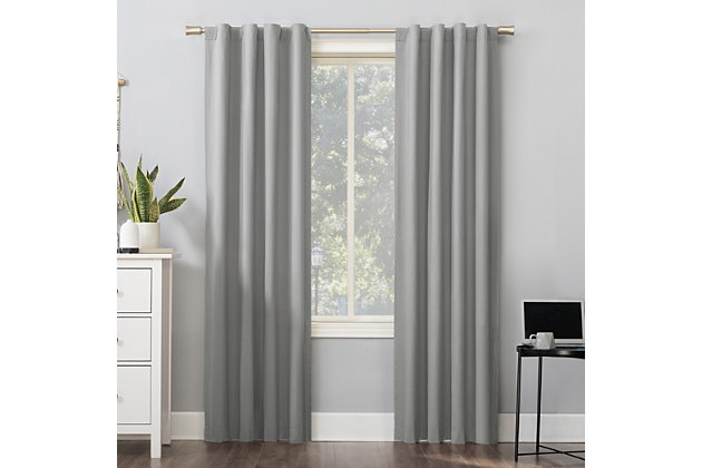 """Sun Zero Cyrus Thermal 100% Blackout 40"""" x 63"""" Silver Gray Back Tab Curtain Panel, Silver Gray, large"""