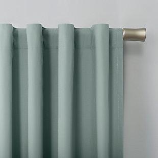 "Sun Zero Cyrus Thermal 100% Blackout 40"" x 84"" Misty Blue Back Tab Curtain Panel, Misty Blue, large"