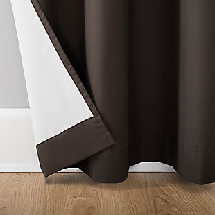 """Sun Zero Cyrus Thermal 100% Blackout 40"""" x 84"""" Cocoa Brown Back Tab Curtain Panel, Cocoa, large"""
