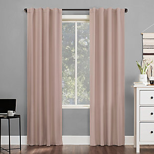 "Sun Zero Cyrus Thermal 100% Blackout 40"" x 84"" Blush Pink Back Tab Curtain Panel, Blush, rollover"