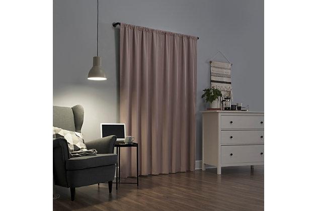 "Sun Zero Cyrus Thermal 100% Blackout 40"" x 84"" Blush Pink Back Tab Curtain Panel, Blush, large"