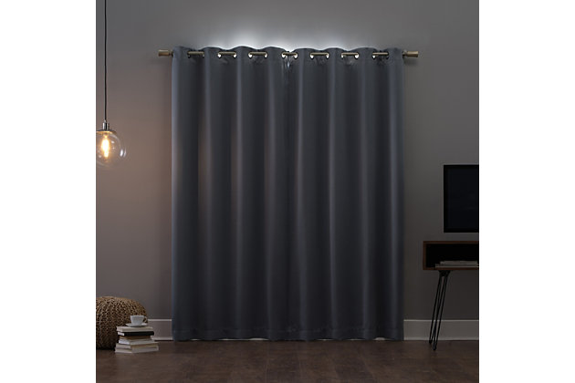 "Sun Zero Oslo Theater Grade Extreme 100% Blackout 52"" x 84"" Haze Grommet Curtain Panel, Haze, large"