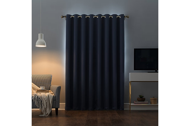 "Sun Zero Oslo Theater Grade Extreme 100% Blackout 52"" x 95"" Navy Blue Grommet Curtain Panel, Navy, large"