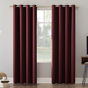 "Sun Zero Oslo Theater Grade Extreme 100% Blackout 52"" x 84"" Wine Grommet Curtain Panel, Wine, large"
