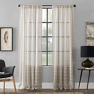 "Clean Window Twill Stripe Anti-Dust Linen Blend Sheer 52"" x 84"" White/Linen Curtain Panel, White/Linen, large"