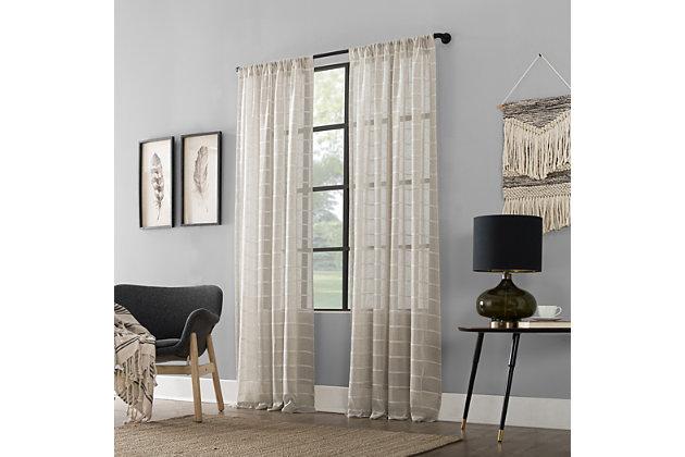 "Clean Window Twill Stripe Anti-Dust Linen Blend Sheer 52"" x 84"" White/Linen Curtain Panel, White/Linen, large"