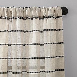 "Clean Window Twill Stripe Anti-Dust Linen Blend Sheer 52"" x 95"" Black/Linen Curtain Panel, Black/Linen, large"