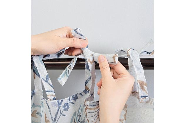"No. 918 Marita Folk Floral Linen Blend Sheer 50"" x 84"" Silver Gray Tie Top Curtain Panel, Silver Gray, large"