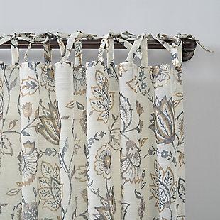 "No. 918 Marita Folk Floral Linen Blend Sheer 50"" x 96"" Ecru Tie Top Curtain Panel, Ecru, large"