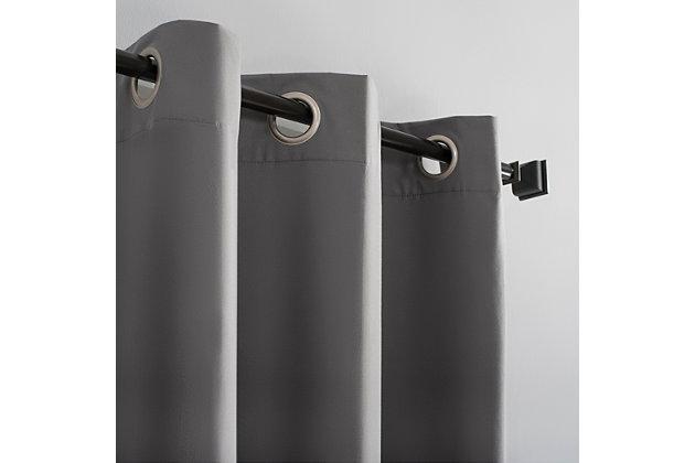 "Sun Zero Cyrus Thermal 100% Blackout 40"" x 63"" Gray Grommet Curtain Panel, Gray, large"