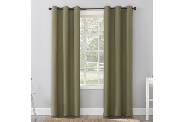 """Sun Zero Cyrus Thermal 100% Blackout 40"""" x 96"""" Olive Green Grommet Curtain Panel, Olive Green, large"""