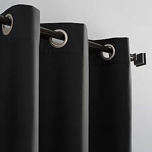 """Sun Zero Cyrus Thermal 100% Blackout 40"""" x 63"""" Charcoal Grommet Curtain Panel, Charcoal, large"""