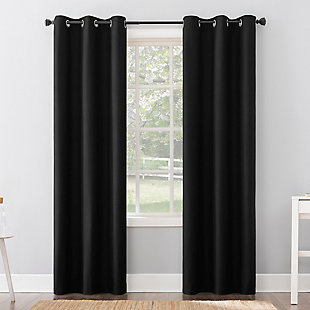 "Sun Zero Cyrus Thermal 100% Blackout 40"" x 84"" Black Grommet Curtain Panel, Black, large"