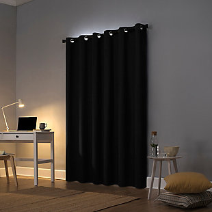 "Sun Zero Cyrus Thermal 100% Blackout 40"" x 84"" Black Grommet Curtain Panel, Black, large"