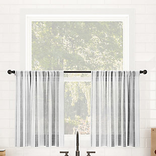 """Clean Window Vintage Stripe Anti-Dust Sheer 50"""" x 24"""" Gray Cafe Curtain Pair, Gray, rollover"""