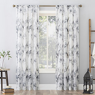 "No. 918 Sura Floral Watercolor Sheer 50"" x 84"" Steel Gray Rod Pocket Curtain Panel, Steel Gray, large"