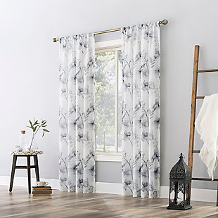 "No. 918 Sura Floral Watercolor Sheer 50"" x 84"" Steel Gray Rod Pocket Curtain Panel, Steel Gray, large"