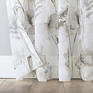 "No. 918 Sura Floral Watercolor Sheer 50"" x 63"" MochaRod Pocket Curtain Panel, Mocha, large"