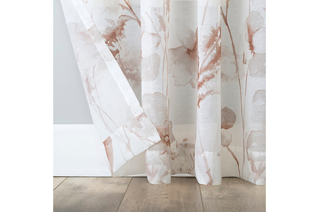 """No. 918 Sura Floral Watercolor Sheer 50"""" x 63"""" Dusty Rose Rod Pocket Curtain Panel, Dusty Rose, large"""