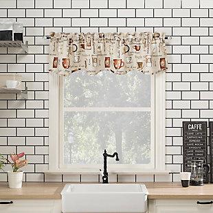 "No. 918 Berkley Coffee Shop Semi-Sheer 54"" x 14"" Ivory Off-White Rod Pocket Kitchen Curtain Valance, , rollover"