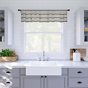"""Clean Window Twill Stripe Anti-Dust Linen Blend Sheer 52"""" x 14"""" Mocha/Linen Cafe Curtain Valance, Mocha/Linen, rollover"""