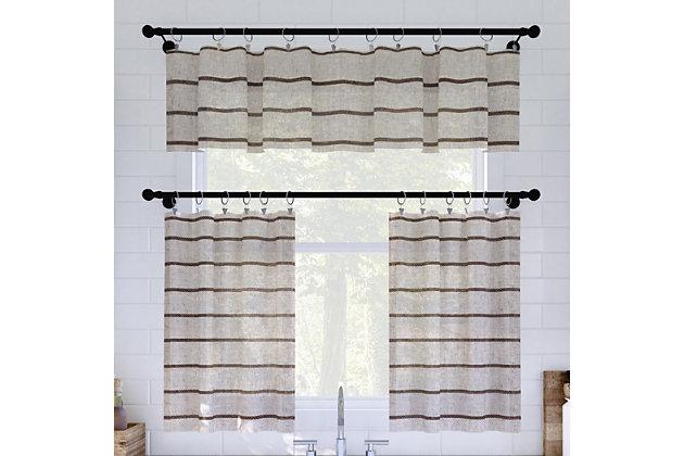 """Clean Window Twill Stripe Anti-Dust Linen Blend Sheer 52"""" x 14"""" Mocha/Linen Cafe Curtain Valance, Mocha/Linen, large"""