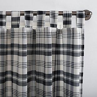 "No. 918 Blair Farmhouse Plaid Semi-Sheer 52"" x 84"" Charcoal/Ecru Off-White Tab Top Curtain Panel, Coal, large"