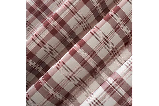 "No. 918 Blair Farmhouse Plaid Semi-Sheer 52"" x 84"" Red/Ecru Off-White Tab Top Curtain Panel, Red, large"