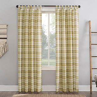 "No. 918 Blair Farmhouse Plaid Semi-Sheer 52"" x 84"" Gold/Ecru Off-White Tab Top Curtain Panel, Gold, large"