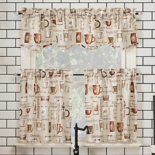 "No. 918 Berkley Coffee Shop Semi-Sheer 54"" x 24"" Ivory Off-White Rod Pocket Kitchen Curtain Valanceand Tiers Set, Ivory, rollover"