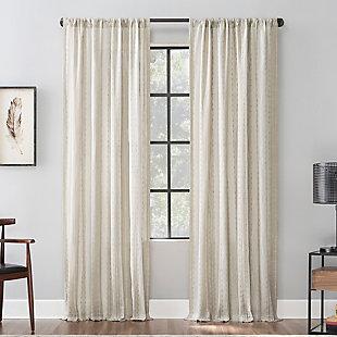 "Archaeo Slub Texture Stripe 52"" x 84"" Linen/White Cotton Curtain, Linen/White, rollover"