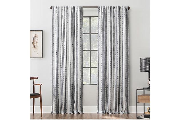 """Archaeo Slub Texture Stripe 52"""" x 84"""" Black/White Cotton Curtain, Black/White, large"""