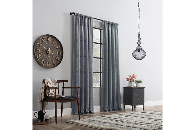 """Clean Window Basketweave Anti-Dust Semi-Sheer 50"""" x 84"""" Vintage Blue Curtain Panel, Vintage Blue, large"""
