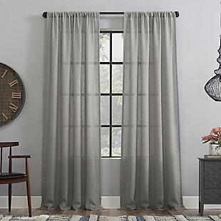 "Clean Window Basketweave Anti-Dust Semi-Sheer 50"" x 84"" Gray Curtain Panel, Gray, large"