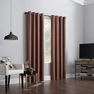 "Sun Zero Noir Dimensional Thermal Extreme 100% Blackout 52"" x 84"" Terracotta Orange Grommet Curtain Panel, Terracotta Red, large"