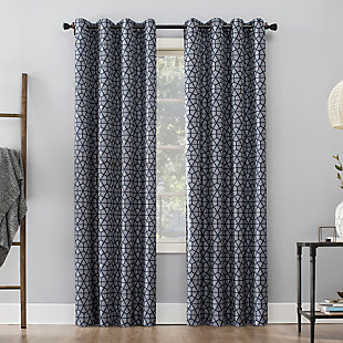 "Sun Zero Burke Twill Mosaic Thermal Extreme 100% Blackout 52"" x 84"" Navy Blue Grommet Curtain Panel, Navy Blue/Denim, large"