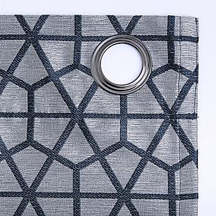 "Sun Zero Burke Twill Mosaic Thermal Extreme 100% Blackout 52"" x 84"" Navy Blue Grommet Curtain Panel, Navy Blue/Denim, large"