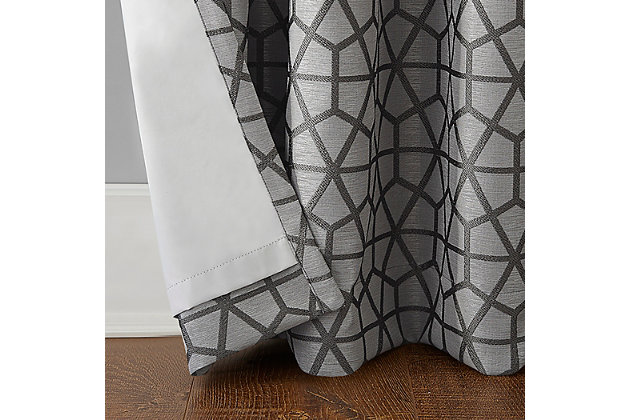 """Sun Zero Burke Twill Mosaic Thermal Extreme 100% Blackout 52"""" x 95"""" Charcoal/Gray Grommet Curtain Panel, Charcoal/Gray, large"""