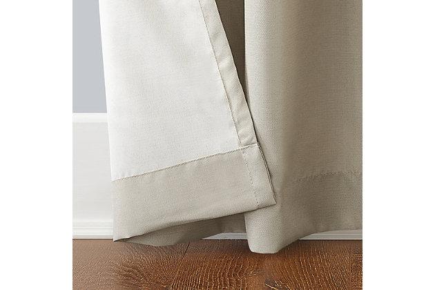 """Sun Zero Reed Woven Indoor/Outdoor UV Protectant Room Darkening 52"""" x 84"""" Linen Grommet Curtain Panel, Linen, large"""