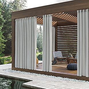"Sun Zero Reed Woven Indoor/Outdoor UV Protectant Room Darkening 52"" x 108"" White Grommet Curtain Panel, White, large"