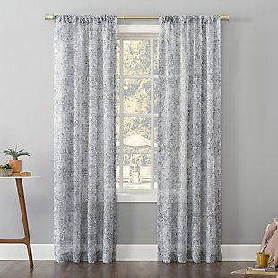"No. 918 Bisset Marbled Texture Metallic Slub Sheer 50"" x 84"" Silver Gray Rod Pocket Curtain Panel, Silver Gray, rollover"