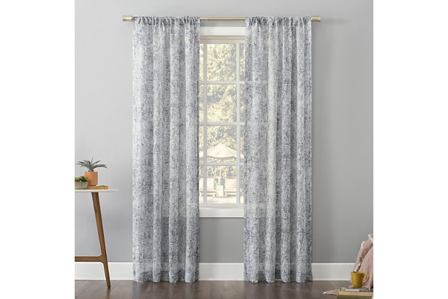 "No. 918 Bisset Marbled Texture Metallic Slub Sheer 50"" x 84"" Silver Gray Rod Pocket Curtain Panel, Silver Gray, large"