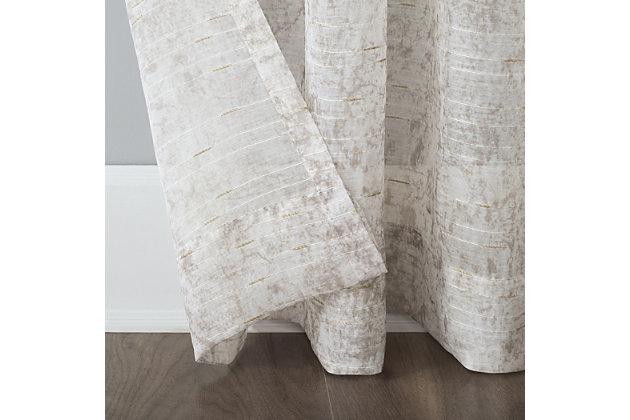 "No. 918 Bisset Marbled Texture Metallic Slub Sheer 50"" x 84"" Ecru Rod Pocket Curtain Panel, Ecru, large"