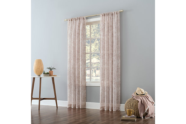 "No. 918 Bisset Marbled Texture Metallic Slub Sheer 50"" x 63"" Rosewood Pink Rod Pocket Curtain Panel, Rosewood Pink, large"