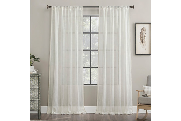 """Archaeo Embroidered Border Cotton Blend Sheer 50"""" x 84"""" White Curtain, White, large"""