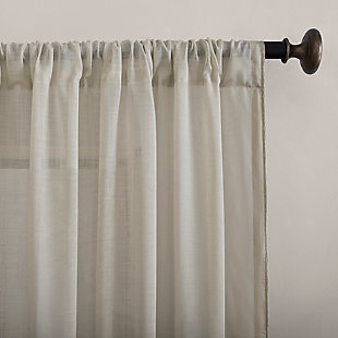 """Archaeo Embroidered Border Cotton Blend Sheer 50"""" x 63"""" Stone Curtain, Stone, large"""