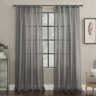 "Archaeo Embroidered Border Cotton Blend Sheer 50"" x 84"" Gray Curtain, Gray, rollover"